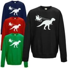 Santa Sleigh Dinosaur Sweatshirt Funny T-Rex Jurassic Christmas Gift Jumper Top