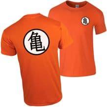 Turtle Chinese Training Symbol Orange T-Shirt Dragon Inspired Anime Fan Gift Top