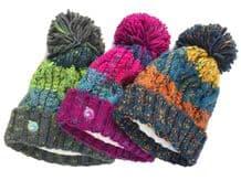 Unicorn Headwear Corkscrew Acrylic Knitted Fleece Lined Pom Pom Ski Beanie Hat
