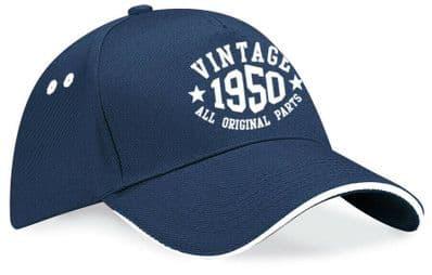Vintage Birthday Contrast Baseball Cap - 40th 50th 60th 70th Present Date Hat