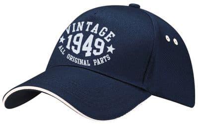 Vintage Birthday Contrast Baseball Cap - 41th 51th 61th 71th Present Date Hat