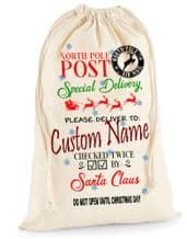 XL Personalised Canvas Special Delivery Glitter Printed Santa Christmas Sack