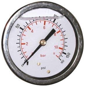 WIKA 7 BAR (100 PSI) 63mm Pressure Gauge Back Entry Glycerine Filled