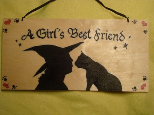 """A Girl's Best Friend"" Large Unique Wooden Sign Witch Wicca Pagan Occult 12"" x 6"" Unique Handcrafted OOAK"
