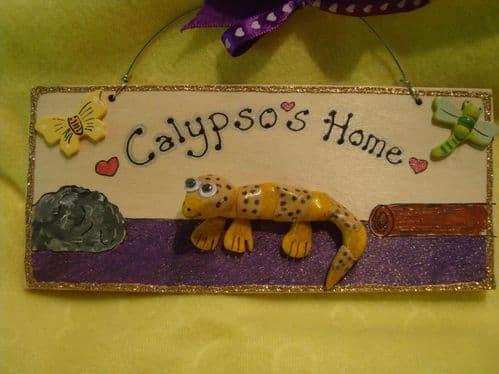 3d Leopard Gecko Personalised VIVARIUM TERRARIUM Children's Bedroom Reptile Lizard Sign Handmade plaque