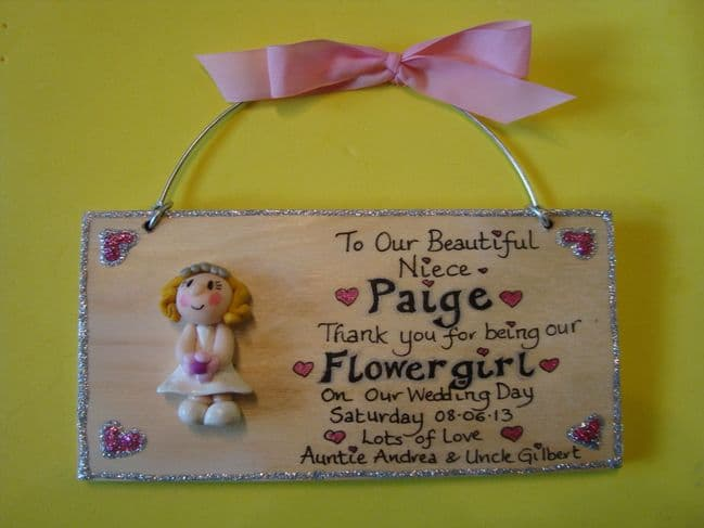3d Personalised Bridesmaid Flowergirl Maid of Honour Sign Boy or Girl Unique Keepsake Gift Plaque Handmade Any Phrasing