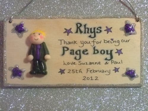 3d Personalised  Pageboy Ringbearer  Bestman Dad Thank you Unique Keepsake Wedding Gift Plaque Handmade Any Phrasing