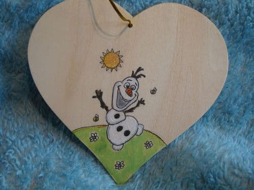 Frozen Olaf Snowman Personalised Wooden Hanging Heart Sign Plaque Any Phrasing Bedroom Christmas In Summer Bridesmaid Pageboy