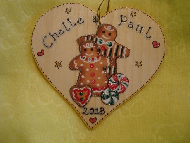 Gingerbread Man Lady Couple Wooden Christmas Heart Hanger Decoration Personalised Any Names