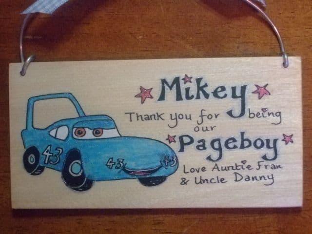 KING BLUE CAR PAGEBOY RINGBEARER USHER BEST MAN WEDDING FAVOUR KEEPSAKE THANK YOU SIGN PERSONALISED Handmade Each One Unique OOAK