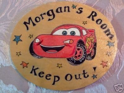 Lightning Mcqueen Racing Car style BEDROOM PLAYHOUSE PLAYROOM SIGN WOODEN PERSONALISED OVAL ORDER Plaque