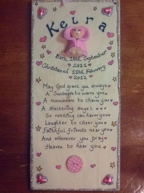 May God Grant You Always New Baby Birth Celebration Shower Sign Time Weight Date Names Pink or Blue Personalised Sign Plaque 3d