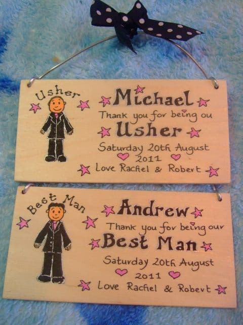 PAGEBOY RINGBEARER USHER BEST MAN WEDDING CHARACTER FAVOUR KEEPSAKE THANK YOU SIGN PERSONALISED Handmade Each One Unique OOAK