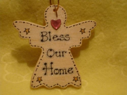 SALE** was £1.99 Bless Our Home  Inspirational Angel Wooden Hanger Sign  Handmade Unique Shabby Chic Ready To Despatch