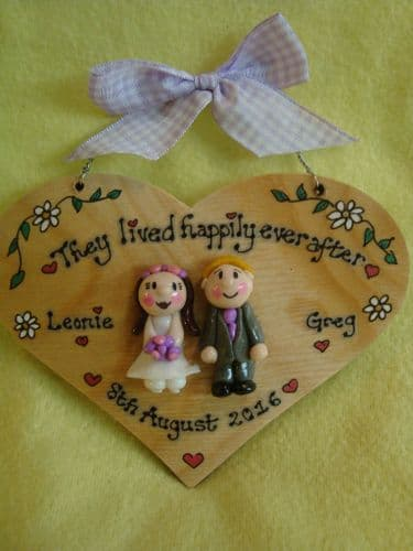 Wedding Day /Anniversary Personalised 3d Heart shaped wooden Sign Personalised to Order Handmade Happily Ever After