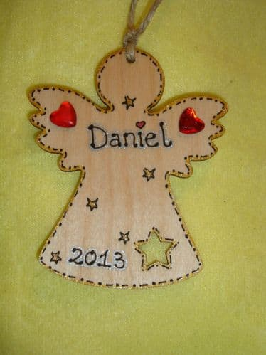 Wooden Personalised Angel Fairy Christmas Tree Hanger Decoration Star Cut Out Any Name Year