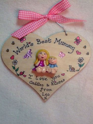 World's Best Mummy Personalised 3d Heart shaped wooden Sign Plaque Personalised to Order Handmade Unique Keepsake Gift