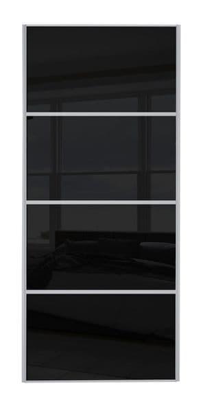 Classic 4 Panel , Silver frame/ Black glass door