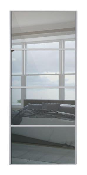 Classic 4 Panel , Silver frame/ Plain mirror