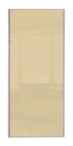 Classic Single panel, Silver frame/ Cream glass panel door