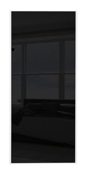 Classic Single panel, White frame/ Black glass panel door