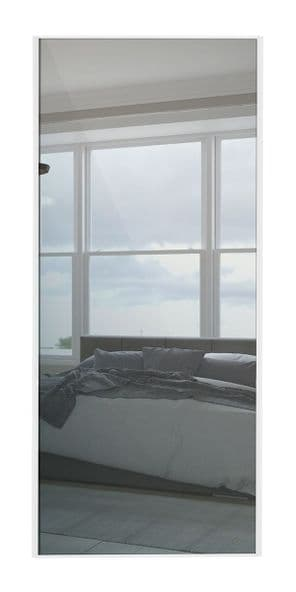 Classic Single panel, White frame/ Mirror panel door