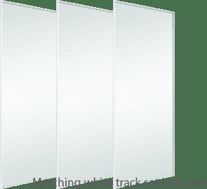 WHITE MIRROR SILVER SLIDING WARDROBE DOORS AND TRACKS