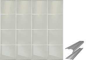 4 PANEL WHITE GLASS SLIDING WARDROBE DOORS