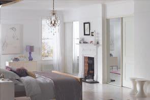 White Frame Mirror Doors | Sliding mirror doors
