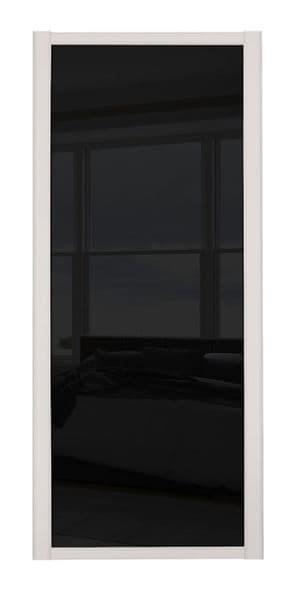 Shaker Sliding Wardrobe Door- CASHMERE FRAME- BLACK GLASS SINGLE PANEL