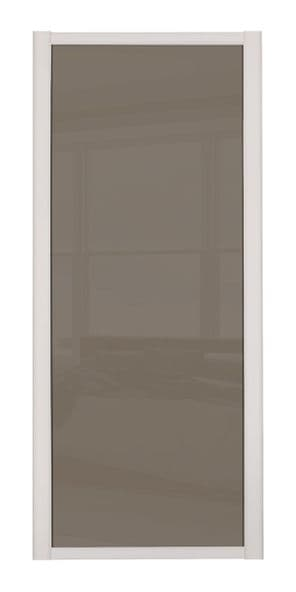 Shaker Sliding Wardrobe Door- CASHMERE FRAME- CAPPUCCINO GLASS SINGLE PANEL