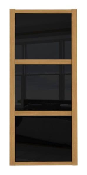 Shaker Sliding Wardrobe Door- OAK FRAME - 3  BLACK GLASS PANELS