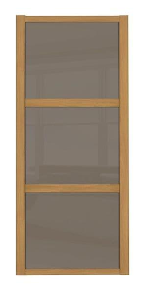 Shaker Sliding Wardrobe Door- OAK FRAME - 3  CAPPUCCINO GLASS PANELS