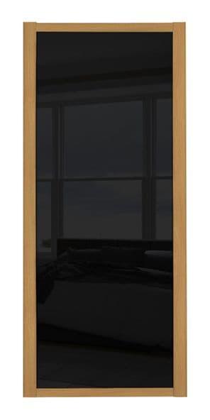 Shaker Sliding Wardrobe Door- OAK FRAME- BLACK GLASS SINGLE PANEL