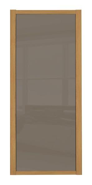 Shaker Sliding Wardrobe Door- OAK FRAME- CAPPUCCINO GLASS SINGLE PANEL