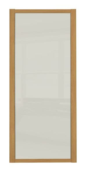 Shaker Sliding Wardrobe Door- OAK FRAME- SOFT WHITE SINGLE PANEL