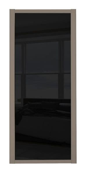 Shaker Sliding Wardrobe Door- STONE GREY FRAME- BLACK GLASS SINGLE PANEL