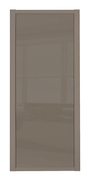 Shaker Sliding Wardrobe Door- STONE GREY FRAME- CAPPUCCINO GLASS SINGLE PANEL (1)
