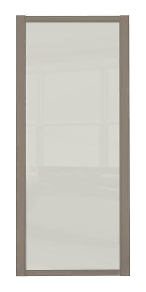 Shaker Sliding Wardrobe Door- STONE GREY FRAME- SOFT WHITE SINGLE PANEL