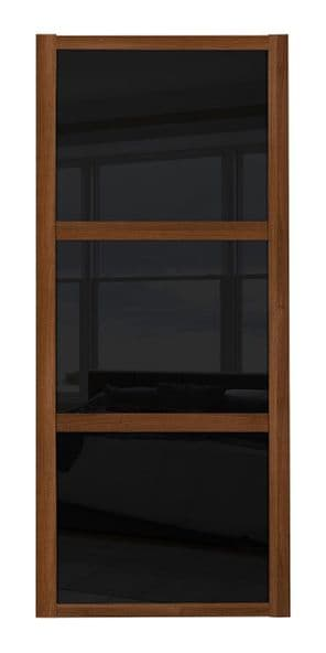 Shaker Sliding Wardrobe Door- WALNUT FRAME - 3  BLACK GLASS PANELS