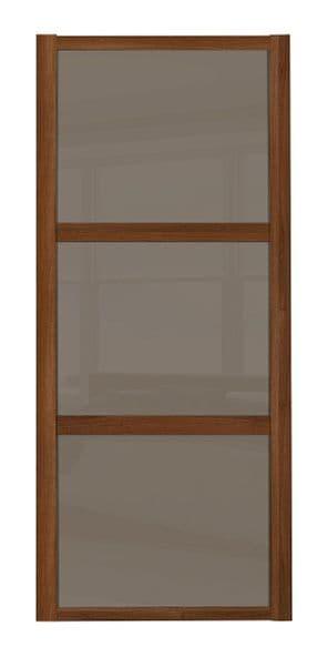 Shaker Sliding Wardrobe Door- WALNUT FRAME - 3  CAPPUCCINO GLASS PANELS