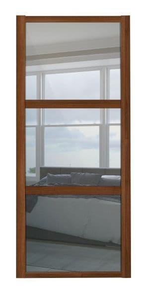 Shaker Sliding Wardrobe Door- WALNUT FRAME - 3  MIRROR PANELS