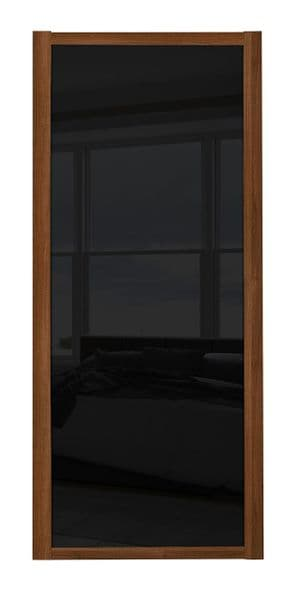 Shaker Sliding Wardrobe Door- WALNUT FRAME- BLACK GLASS  SINGLE PANEL