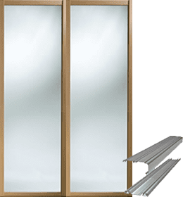 Oak shaker styled door set with mirrors inset