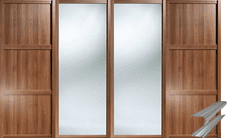 Shaker Style Walnut 2 Panel & 2 Mirror Doors & Track Set to suit an opening width of 2387mm