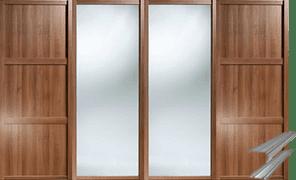 SHAKER MIXED PANEL AND MIRROR WALNUT FINISH DOORS