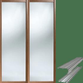 iSpace Walnut effect sliding wardrobe doors