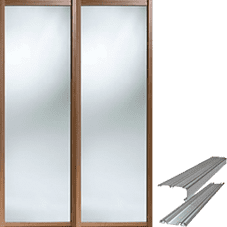 Shaker Style Walnut Frame Mirror Door & Track Set to suit an opening width of 1803mm