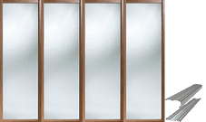 Shaker Style Walnut Frame Mirror Door & Track Set to suit an opening width of 3607mm