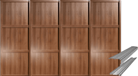 SHAKER STYLE PANEL WALNUT SLIDING WARDROBE DOORS